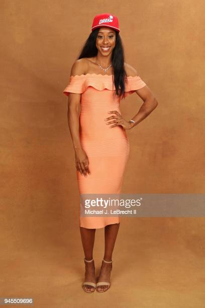 Monique Billings poses for a portrait after being selected by the Atlanta Dream during the WNBA Draft on April 12 2018 in New York New York at the...