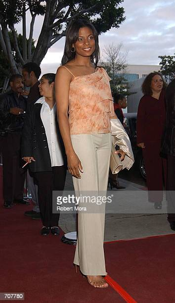 Monique Brown wife of Jim Brown attends the film premiere of HBO Spike Lees Jim Brown All American April 17 2002 in Beverly Hills CA