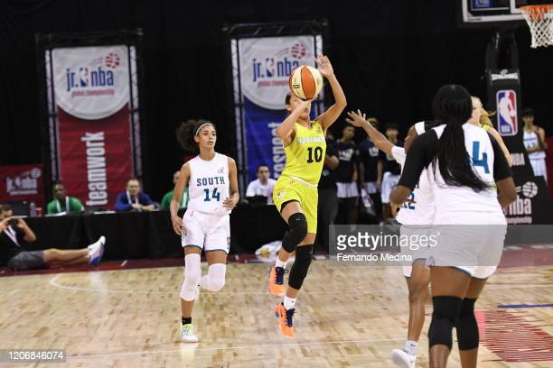 Monique Carter of the U.S. Northwest Girls shoots the ball to beat the buzzer during Pool Play of the Jr. NBA Global Championship on August 6, 2019...