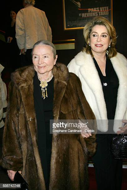 Monique Chaumette and Catherine Deneuve attend the movie premiere of Pars vite et reviens tard