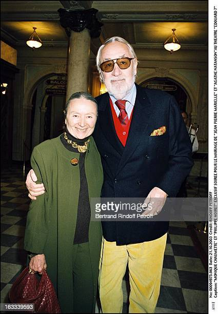 Monique Chaumette and Philippe Noiret party for the wedding of Jean Pierre Marielle and Agathe Natanson at the theater Edouard VII