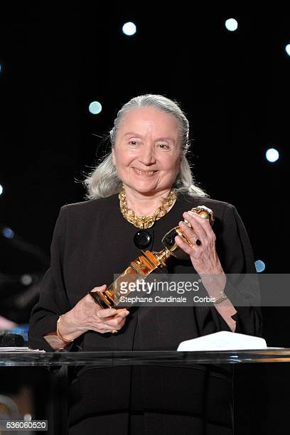 Monique Chaumette on stage with her Moliere for Best Actress in a Supporting Role for Baby Doll at the 23rd Molieres Awards held at the Theatre de...