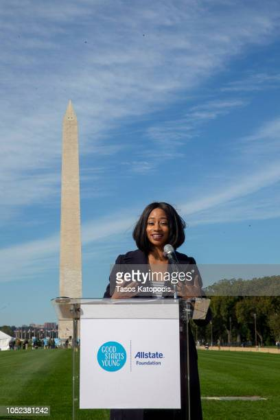 Monique Coleman Actress and Allstate Foundation Good Starts Young invited future leaders to step onto pedestals with aspirational inscriptions...