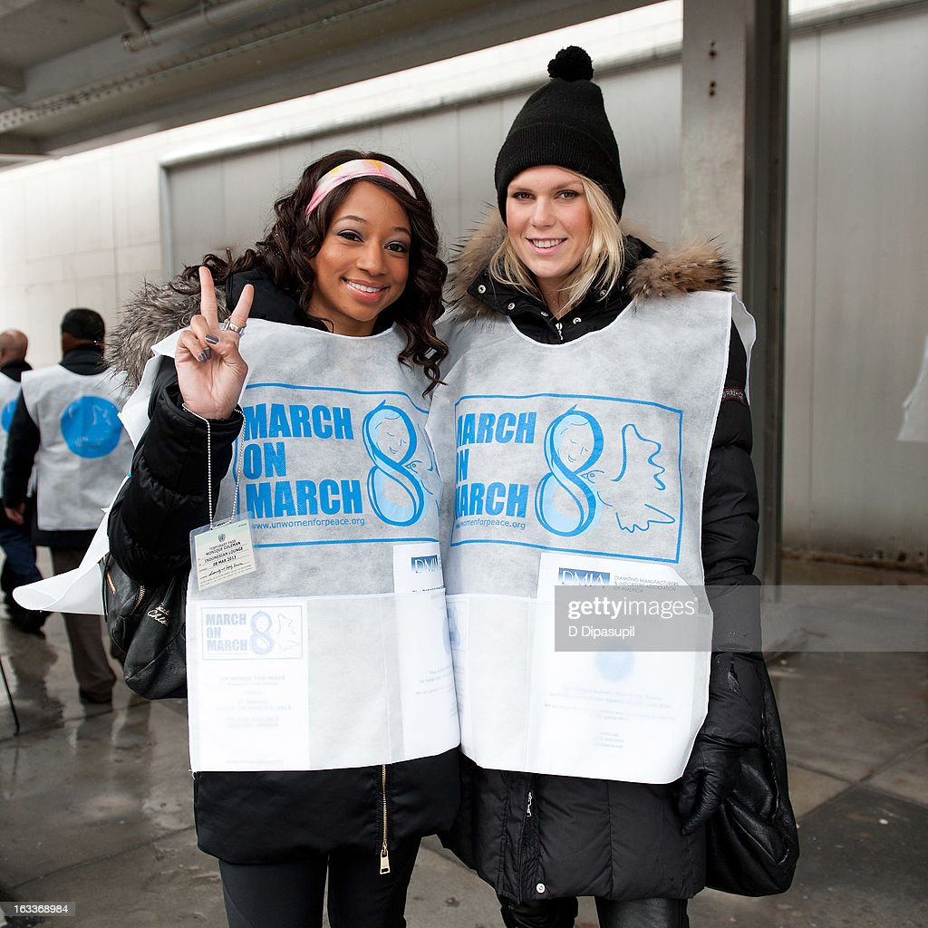Monique Coleman (L) and Alexandra Richards attend the March On March 8 at the United Nations on March 8, 2013 in New York City.