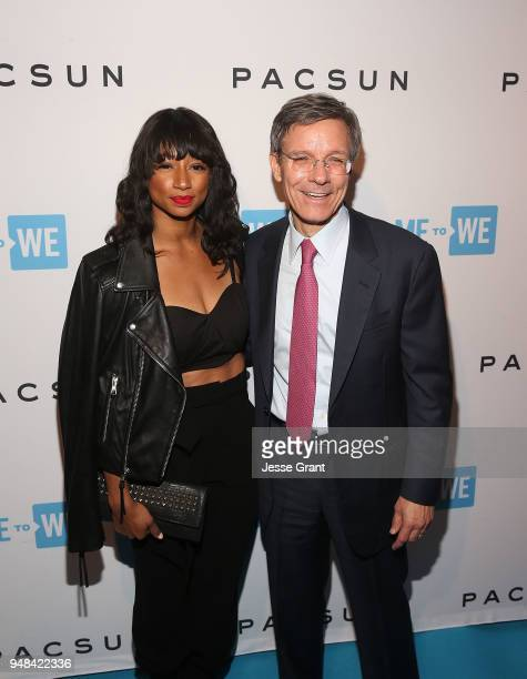 Monique Coleman and Allstate CEO, Thomas Wilson attend Party with a Purpose, the Official Pre-Party to WE Day California at The Peppermint Club on...