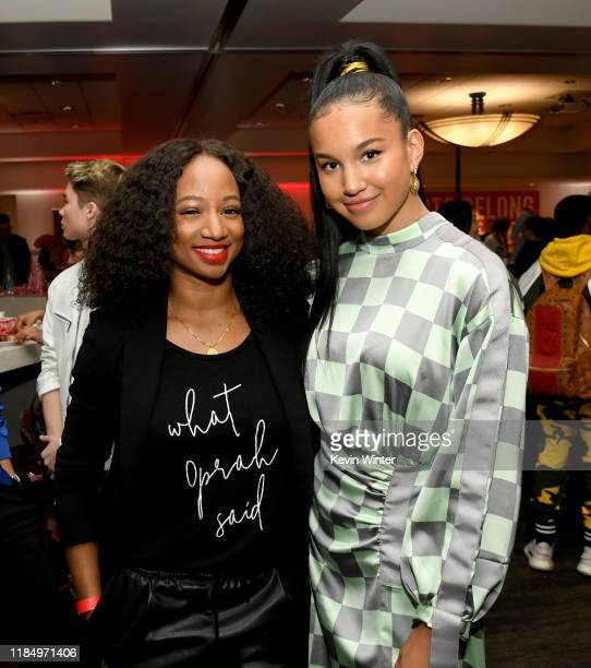 """Monique Coleman and Sofia Wylie pose at the after party for the premiere of Disney+'s """"High School Musical: The Musical: The Series"""" at the Walt..."""