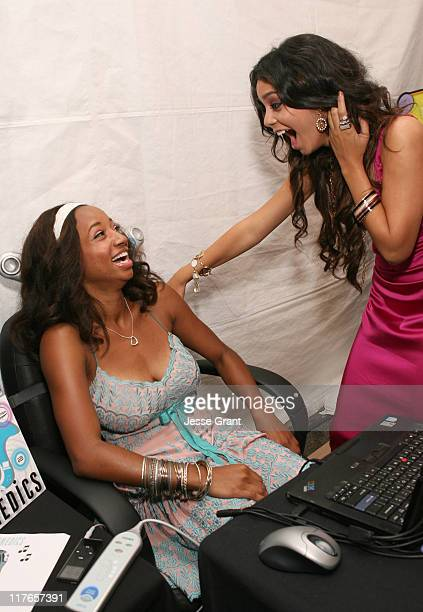 Monique Coleman and Vanessa Hudgens during My Scene Fab Faces Dolls Celebrity Retreat Produced by Backstage Creations at the 2006 Teen Choice Awards...