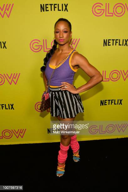 """Monique Coleman attends Netflix's """"Glow"""" celebrates its 10 Emmy Nominations with Roller-Skating event at World on Wheels on July 29, 2018 in Los..."""
