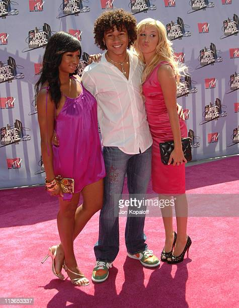 Monique Coleman Corbin Bleu and Ashley Tisdale during 2007 MTV Movie Awards Arrivals at Gibson Amphitheater in Los Angeles California United States