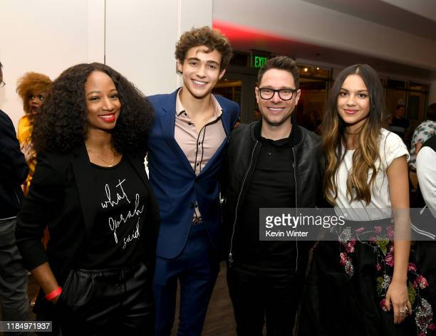 "Monique Coleman, Joshua Bassett, Tim Federle and Olivia Rodrigo pose at the after party for the premiere of Disney+'s ""High School Musical: The..."