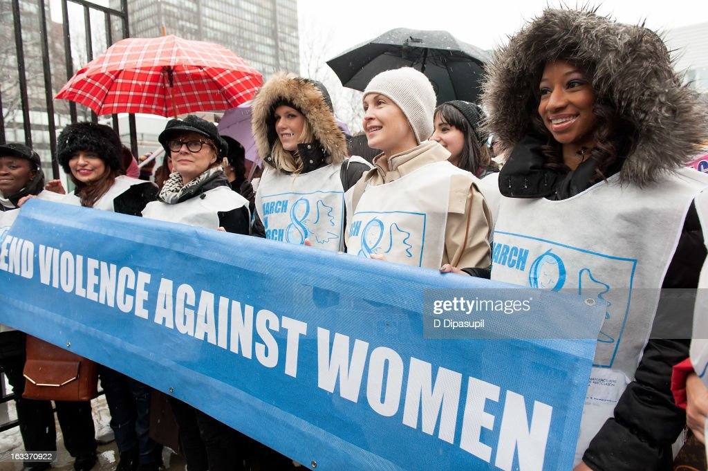 Monique Coleman, Kelly Rutherford, Alexandra Richards, and Susan Sarandon attend the March On March 8 at the United Nations on March 8, 2013 in New York City.