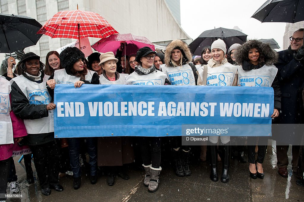 Monique Coleman, Kelly Rutherford, Alexandra Richards, Susan Sarandon, and Yoo Soon-taek attend the March On March 8 at the United Nations on March 8, 2013 in New York City.