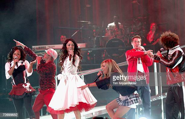 "Monique Coleman, Lucas Grabeel, Vanessa Hudgens, Drew Seeley, Ashley Tisdale, and Corbin Bleu of Disney's ""High School Musical"" perform at the HP..."