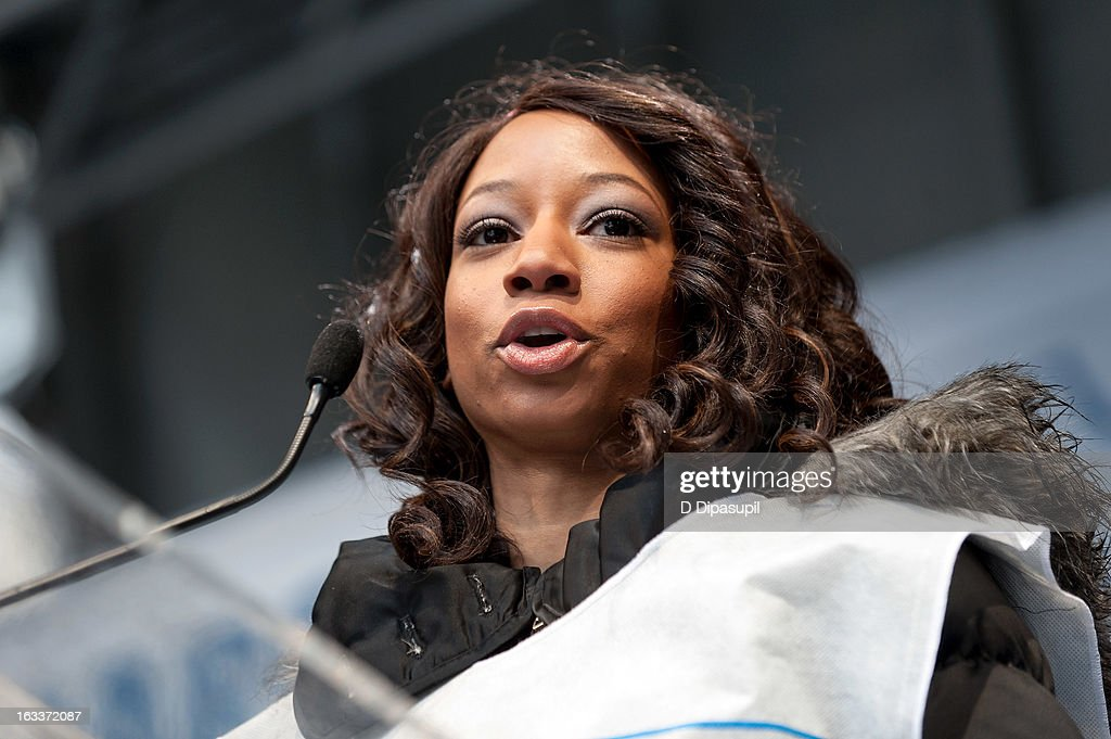 Monique Coleman speaks on stage during the March On March 8 at the United Nations on March 8, 2013 in New York City.