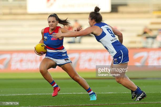 Monique Conti of the Bulldogs in action during the round three AFLW match between the North Melbourne Kangaroos and the Western Bulldogs at the...
