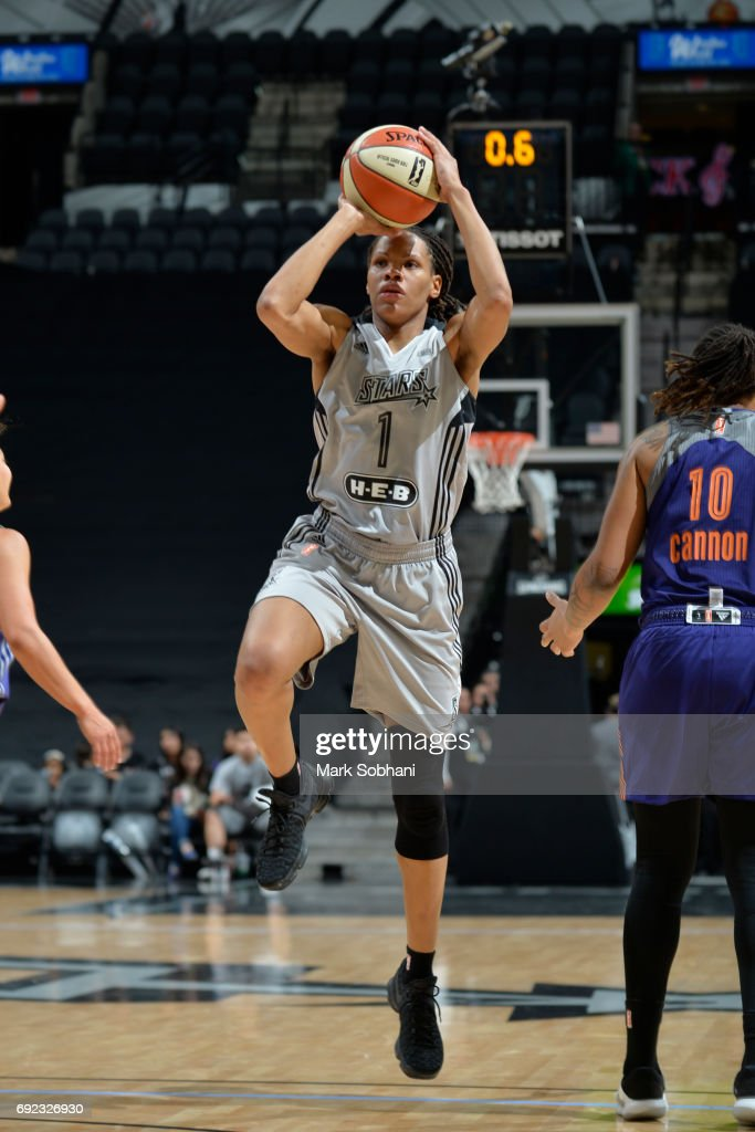 Monique Currie #1 of the San Antonio Stars shoots the ball against the Phoenix Mercury on May 19, 2017 at AT&T Center in San Antonio, Texas.