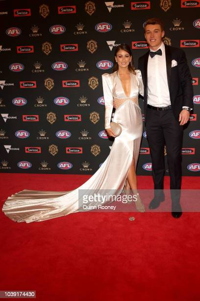 Monique Fontana and Patrick Cripps of the Blues arrive ahead of the 2018 Brownlow Medal at Crown Entertainment Complex on September 24 2018 in...
