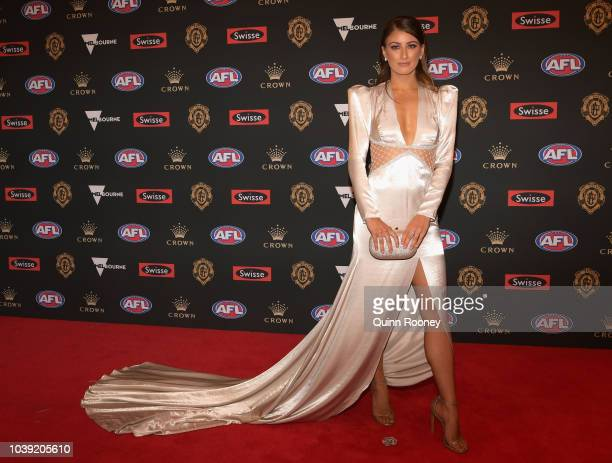 Monique Fontana the partner of Patrick Cripps of the Blues arrives ahead of the 2018 Brownlow Medal at Crown Entertainment Complex on September 24...