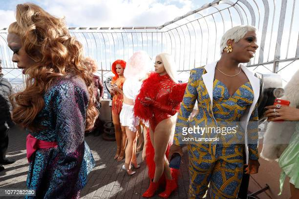 Monique Heart Trinity Taylor and Jasmine Msters from the cast of RuPaul's Drag Race All Stars visit the Empire State Building Hosts Cast Of RuPaul's...