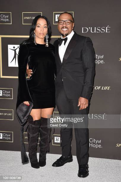 Monique Idlett and Timbaland attend the 2018 City Of Hope Gala at Barker Hangar on October 11 2018 in Santa Monica California