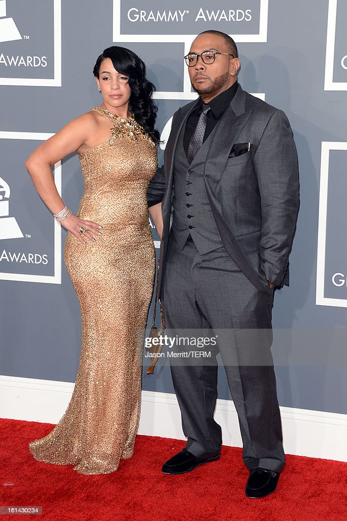 Monique Idlett Mosley and Timbaland arrives at the 55th Annual GRAMMY Awards at Staples Center on February 10, 2013 in Los Angeles, California.