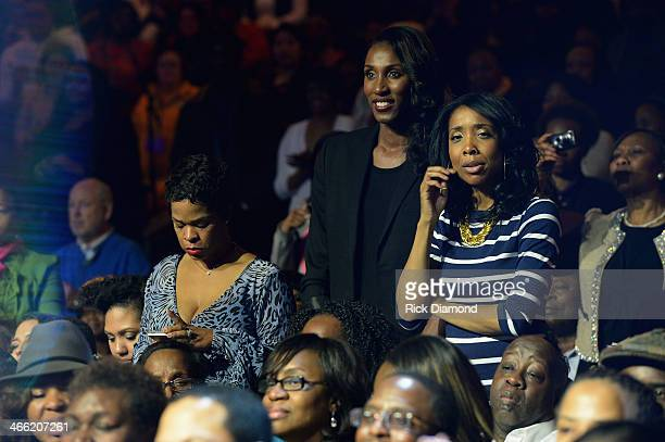 Monique Jackson former WNBA player Lisa Leslie and Kita Williams at the Super Bowl Gospel Celebration 2014 at The Theater at Madison Square Garden on...