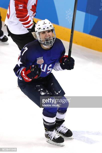 Monique LamoureuxMorando of the United States celebrates after scoring a goal against Canada in the third period during the Women's Gold Medal Game...