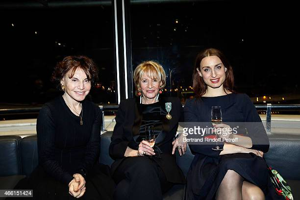 Monique Lang Eve Ruggieri dressed with Smoking Pierre Cardin and Marie Kalinine attend the Eve Ruggieri decorated Officier des Arts et Lettres by...
