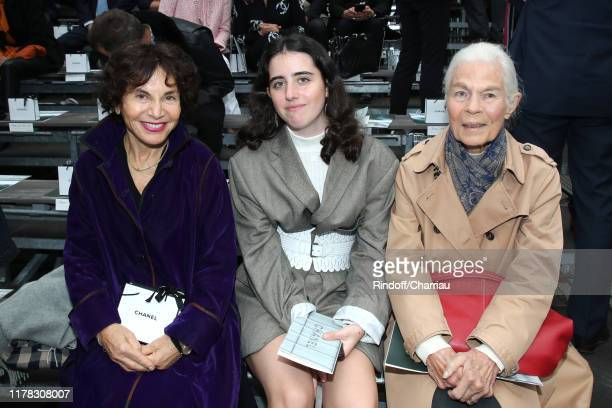 Monique Lang her granddaughter Anna and Micheline Chaban Delmas attend the Chanel Womenswear Spring/Summer 2020 show as part of Paris Fashion Week on...