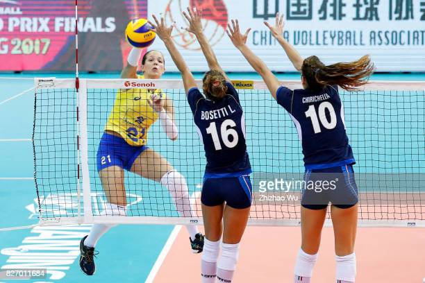 Monique Marinho Pavao of Brazil spikes during 2017 Nanjing FIVB World Grand Prix Finals between Italy and Brazil on August 6 2017 in Nanjing China