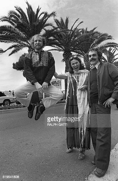 Monique Mercure a Canadian actress from Quebec is surrounded by film director Jean Beaudin and jumping Marcel Sabourin an actor film director both of...