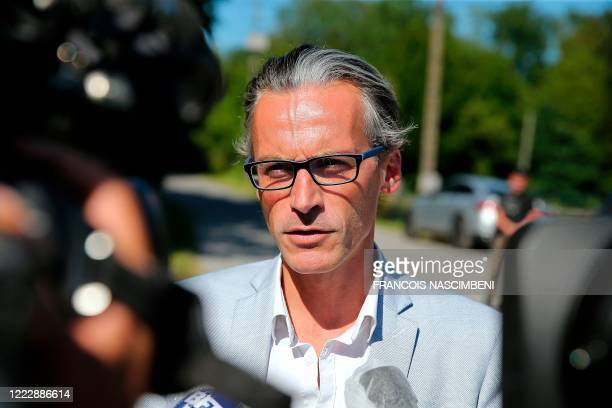 Monique Olivier's lawyer Richard Delgenes addresses media at the Sautou Castle, the former property of serial killer Michel Fourniret, in Donchery on...