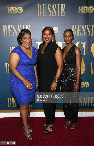 Mo'Nique Queen Latifah and Tika Sumpter attend the Bessie New York screening at The Museum of Modern Art on April 29 2015 in New York City