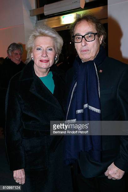 Monique Raimond and Gilles Dufour attend Le Retour De Marlene Dietrich Theater Play at Espace Pierre Cardin on February 17 2016 in Paris France