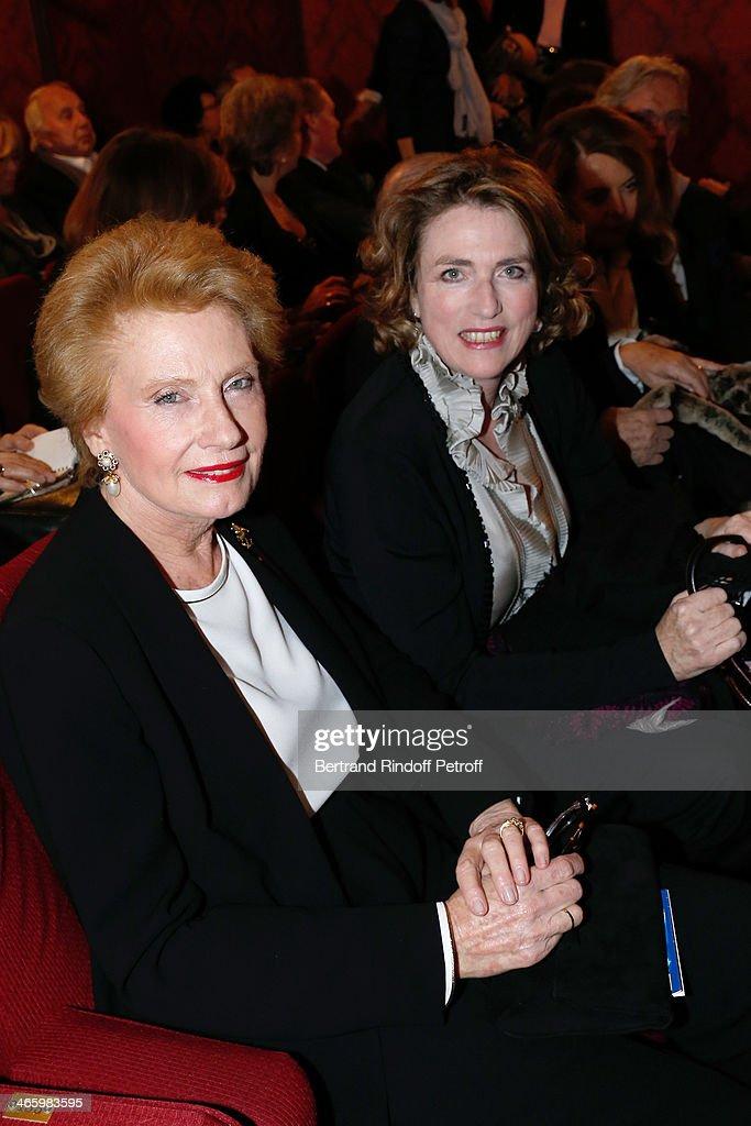 Monique Raimond and Sabine de la Rochefoucault Duchess D'estissac attend 'Un Temps De Chien' - Theater Gala Premiere to Benefit ARSEP Foundation. Held at Theatre Montparnasse on January 30, 2014 in Paris, France.