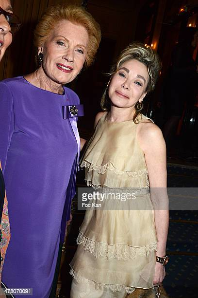 Monique Raymond and Grace de Capitani attend Sauvons Saint Cloud Auction Ceremony Dinner at Hotel Interallie on March 11 2014 in Paris France