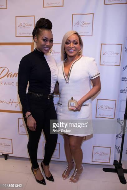 Monique Samuels and Karen Huger attend La'Dame Fragrance Popup at Bloomingdales on May 11 2019 in Tysons Corner Virginia