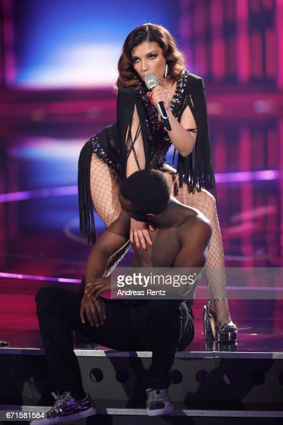 Monique Simon performs during the third event show of the tv competition 'Deutschland sucht den Superstar' at Coloneum on April 22 2017 in Cologne...