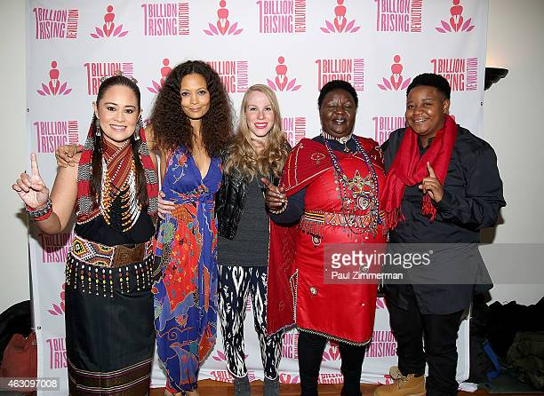 Monique Wilson Thandie Newton Emma Myles Agnes Pareyo and Karabo Tshikube attend the 3rd Annual One Billion Rising REVOLUTION at Hammerstein Ballroom...