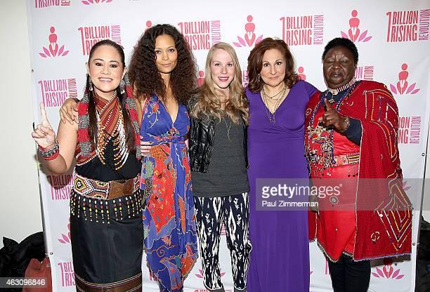 Monique Wilson Thandie Newton Emma Myles Kathy Najimy and Agnes Pareyo attend the 3rd Annual One Billion Rising REVOLUTION at Hammerstein Ballroom on...