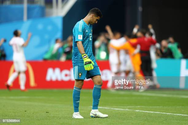 Monir El Kajoui of Morocco looks dejected after conceeding during the 2018 FIFA World Cup Russia group B match between Morocco and Iran at Saint...