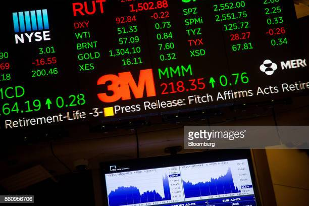 A monitor displays 3M Co signage on the floor of the New York Stock Exchange in New York US on Friday Oct 13 2017 Thedollarslipped Treasuries added...