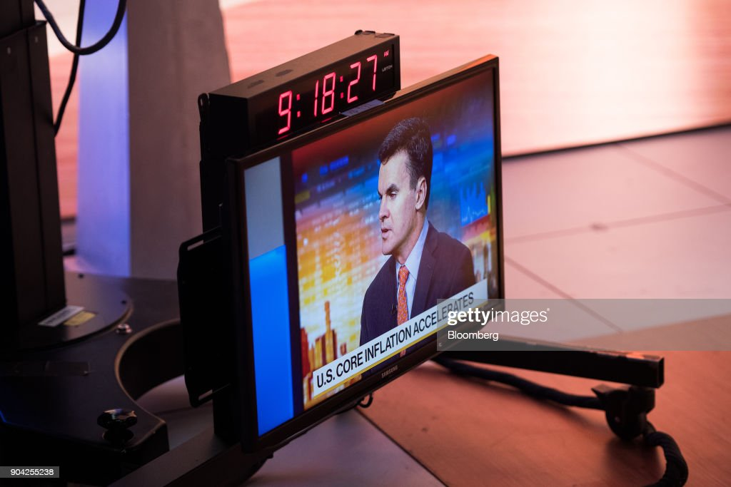 A monitor displays a live feed of Paul Hickey, co-founder of Bespoke Investment Group LLC, speaking during a Bloomberg Television interview in New York, U.S., on Friday, Jan. 12, 2018. Hickey spoke about big bank earns. Photographer: Mark Kauzlarich/Bloomberg via Getty Images