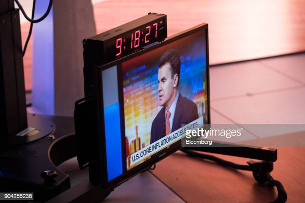 A monitor displays a live feed of Paul Hickey cofounder of Bespoke Investment Group LLC speaking during a Bloomberg Television interview in New York...