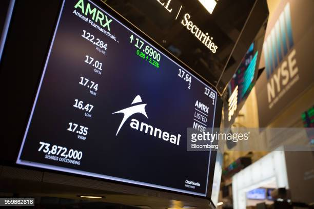 A monitor displays Amneal Pharmaceuticals Inc signage during the company's listing on the floor of the New York Stock Exchange in New York US on...