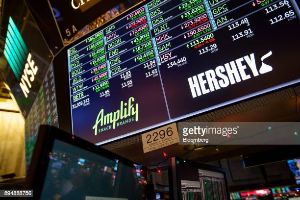 A monitor displays Amplify Snack Brands Inc and Hershey Co signage on the floor of the New York Stock Exchange in New York US on Monday Dec 18 2017...