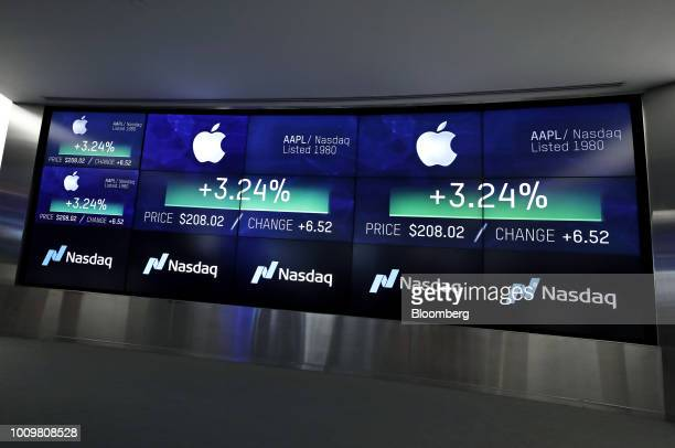 A monitor displays Apple Inc stock information at the Nasdaq MarketSite in New York US on Thursday Aug 2 2018 Apple Inc became the first USbased...
