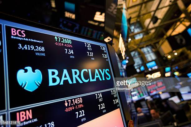 A monitor displays Barclays PLC signage on the floor of the New York Stock Exchange in New York US on Tuesday July 5 2016 US stocks slipped tracking...