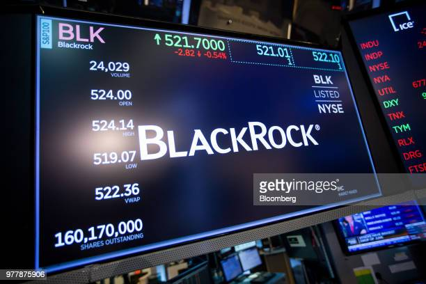 A monitor displays Blackrock Inc signage on the floor of the New York Stock Exchange in New York US on Monday June 18 2018 US stocks shook off the...