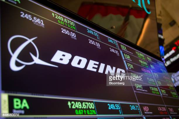 A monitor displays Boeing Co signage on the floor of the New York Stock Exchange in New York US on Monday Sept 18 2017 US stocks added to records the...